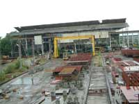 3 covered production bays with 20t, 10t & 5t overhead cranes. Capacity to launch steel vessels upto 90 m length & 4000 t dwt
